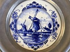 """H/PAINTED BLUE ON WHITE DELFT W.M.F. PLAQUE W/POUTER FRAME 9.10""""D MADE ENGLAND"""