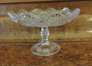 Vintage footed glass bowl - compote, tazza