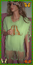 C Port & Company VINTAGE Woman L Cotton Fringe Grayhound T-SHIRT Green Tunic Top