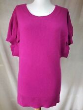 Neiman Marcus 100% Cashmere Tunic Sweater Sz S Solid Magenta Relaxed Fit Longish