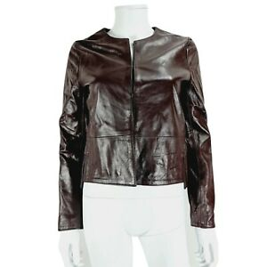 Ottod'ame Leather Jacket UK 10 Brown Round Neck