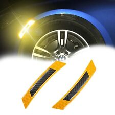 Yellow Super Reflective Carbon Fiber Wheel Eyebrow Edge Protection Trim Sticker