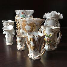 7 Vases de Mariée Eglise Porcelaine De Paris XIXè Blanc et Doré