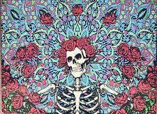 Grateful Dead Skeleton & Roses Stained Glass Vintage Poster Framed Steel Sign