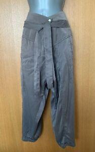 Karen Millen UK 12 Khaki Silk Satin Baggy Harem Style Cropped Trousers Pants