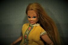 """vintage 1962 Mego jointed fashion doll 7 1/2"""" yellow dress"""