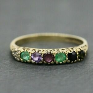 """9ct Yellow Gold """"DEAREST"""" Eternity Ring Size M 1/2, P"""
