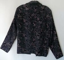 Gorgeous Purple Reversible Jacket Sz M Coldwater Creek Chenille Tapestry Glimmer