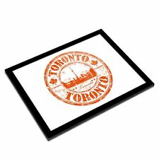 A3 Glass Frame - Toronto Canada Travel Map Stamp Art Gift #5828