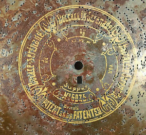 "Antique SERENADE No. 6025 METAL MUSIC BOX DISC D.R.P. 13 1/2"" NR"