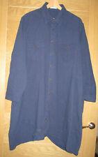 Anself Dark Blue Cotton Long/S Loose Shirt Dress 5XL