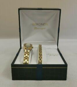 Vintage Sekonda 4538G Classique Ladies Watch & Bracelet Set (D3)