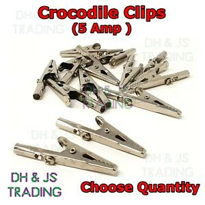 5 Amp Heavy Duty Crocodile Clips - Small Battery Electric Test Charger Clamp 5A