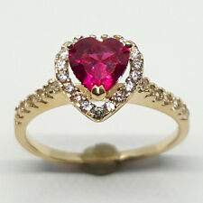 14K solid yellow gold heart shape faceted Red Ruby & white Topaz wedding ring