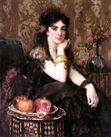 Art Oil painting Saint Jean Jeune Femme Au Grenade girl with fruits Pomegranate
