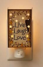 "COUNTRY TIN STAR With BERRY VINE AND HEART 'LIVE LAUGH LOVE"" NIGHT LIGHT"