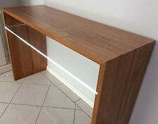 TIMBER & GLASS CONSOLE TABLE WITH LED LIGHTS. NEW. EX DISPLAY.