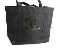 Chanel Beaute Tote VIP Precision Sequins Bag Black Makeup Cosmetics Beach New