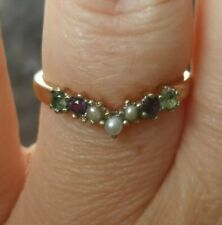 Vtg Natural Amethyst Peridot Pearl suffragette half eternity Ring solid gold