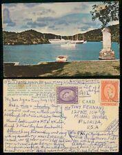 St Vincent 1950s Antigua English Harbor to Florida USA Postcard kkm69021