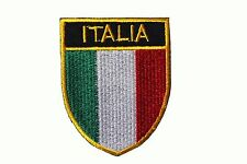ITALIA Country Flag With GOLD Trim SHIELD EMBROIDERED IRON-ON PATCH CREST BADGE