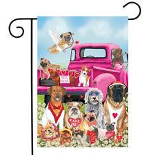 """Happy Valentine's Dogs Garden Flag Puppy Love Humor Briarwood Lane 12.5"""" x 18"""""""