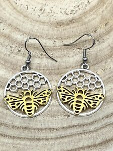 Pair Silver And Gold Honeycomb Bee Earrings Cute Novelty Gift Funky