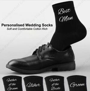 Wedding Socks -Groom, Father of the Bride Men's Black Personalised Wedding Socks