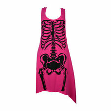 BNWT Heartless Skela Skeleton Ribs Bones PINK Gothic Dress GOTH EMO SIZE S,M, L