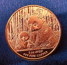 1oz COPPER CHINESE PANDA COIN .999 COPPER ROUNDS BULLION OZ