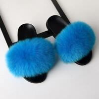 Womens Lady Fluffy Real Fox Raccoon Fur Sandal Shoes Slip On Flat Slide Slippers