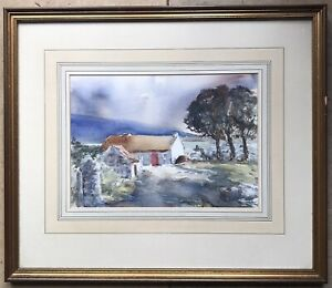 Original Irish Art Watercolour Painting A Donegal Cottage By Robert Beattie