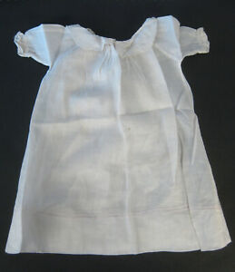 Antique White Cotton Doll Dress or Nightgown and Handmade Slip 1920s