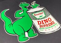 "VINTAGE SINCLAIR MOTOR OIL DINO SUPREME DIE CUT 12"" METAL ADVERTISING GAS SIGN"