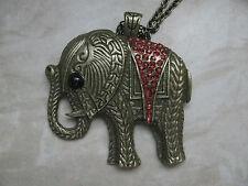 Anhänger Elefant goldfarben mit Zirkonia und Kette