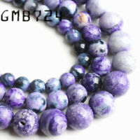 Natural Stone Round Purple Flame Agate Round Loose Beads For Jewelry Making DIY