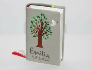 Gotteslob Hülle bestickt, Einband neues Gotteslob  Kommunion Motiv Baum+Taube