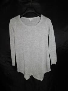 Joie XS Silver Tambrel C Metallic Knit Asymetrical Hem Sweater Long Sleeve Scoop