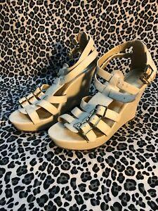 Women Express White Gladiator Strap Wedge Heel Sandals Shoe Size 7