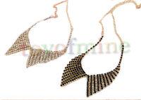 New Fashion Noble Elegant Gold Tone Rhinestone Fake Collar Pendant Necklace