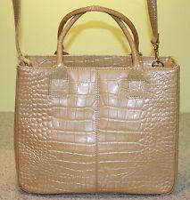STONE MOUNTAIN Camel  Faux Croc Handbag w/ Detachable strap