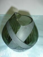 Glasvase - Fischmaulöffnung - Erz Glas, Zwiesel - um 1960 - handgeschliffen