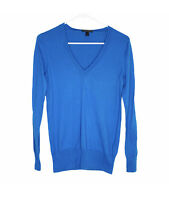 J Crew Women's V Neck Cotton Pullover Sweater Long Sleeve Top Blue Small