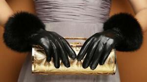 Women Genuine Leather Winter Rabbit Fur Touch Screen Wrist Gloves 3Lines Black