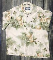 Seven Palm Hawaiian Shirt Silk Blend Floral Tropical Aloha Sz L 212.377