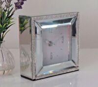 Square Mirrored Glass Silver White Diamante Jewel  Bed Side Mantle Mantel Clock