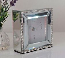 Square Mirrored Glass Silver White Diamante Jewel  Bed Side Mantle Mantel Clock