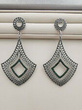 Silver tone and green crystals filigree long earrings