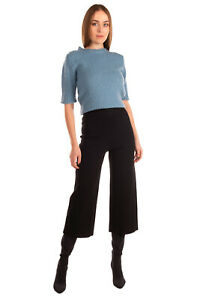 RRP €935 ROLAND MOURET Knitted Flat Front Trousers Size M Stretch Black Cropped