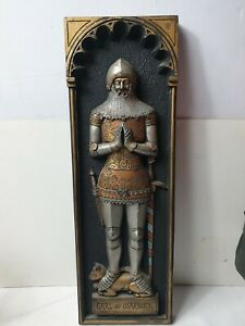 Vintage Ceramic Wall Plaque Earl Of Warwick 1981 signed piece hand painted knigh